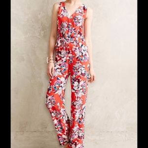 Yumi Kim Red Silk Flower District Jumpsuit Large